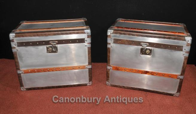 Pair Industrial Steamer Trunk Luggage Box Side Tables Cases