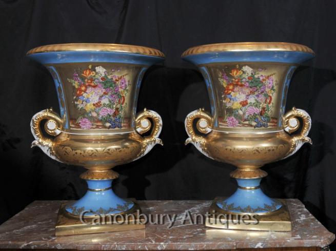 Pair Large Sevres Porcelain Floral Campana Urns Planters Vases