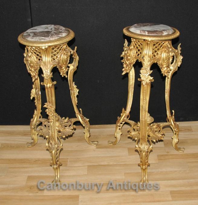 Pair Louis XVI Ormolu Pedestal Stand Tables Furniture