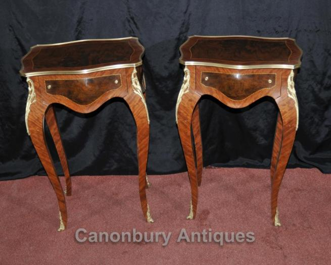 Pair Louis XVI Side Tables Cocktail Pedestal Stands Kingwood