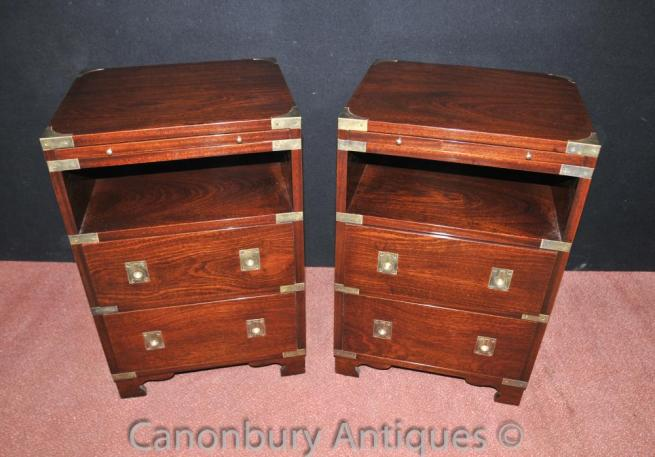 Pair Mahogany Campaign Bedside Chests Tables Nightstands English Furniture