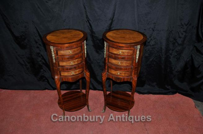 Pair Regency Bedside Chests Drawers Nightstands Walnut Tables