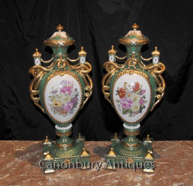 Pair Sevres Porcelain Floral Vases Amphora Urns Serpent Handles