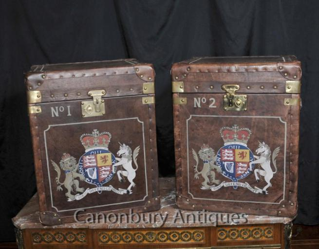 Pair Steamer Trunk Leather Luggaage Boxes Cases Side Tables