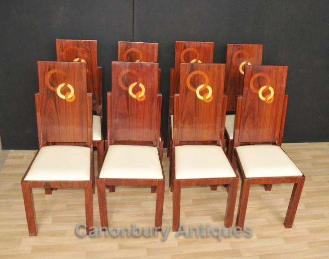 Set 8 Art Deco Dining Chairs Rosewood Seats Marquetry Inlay