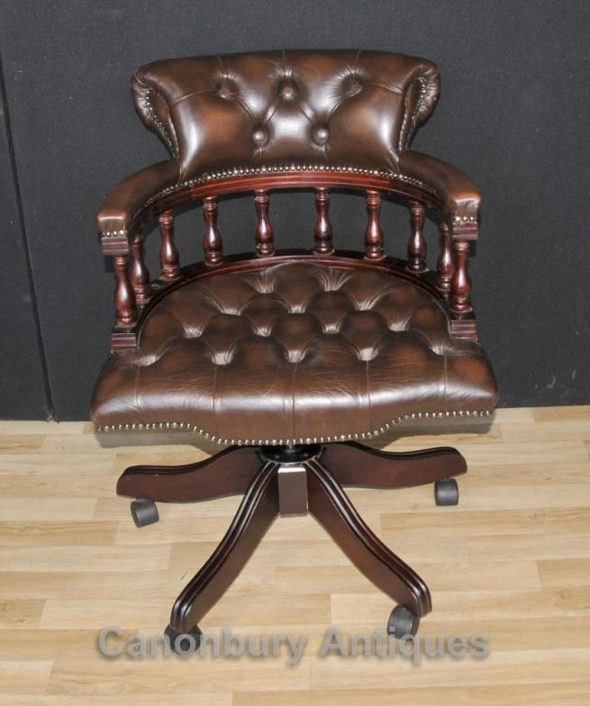Victorian Captains Chair Office Swivel Desk Chairs with Leather