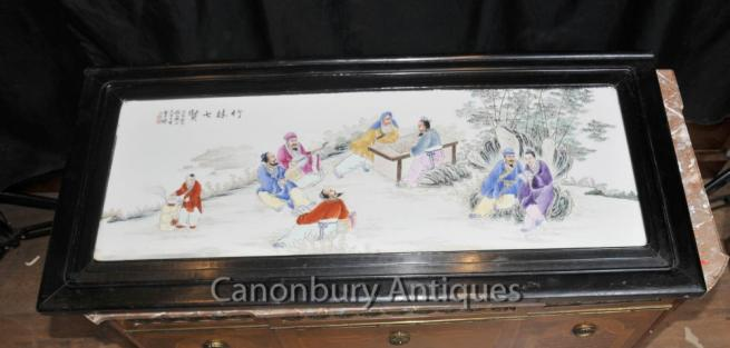 Antique Chinese Porcelain Plaque Screen Picture Hand Painted