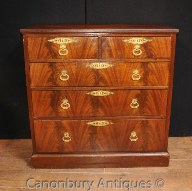 Antique Victorian Flame Mahogany Chest Drawers Betram and Son London