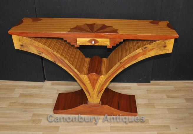 Art Deco Console Table Birdseye Maple Inlay Modernist Tables
