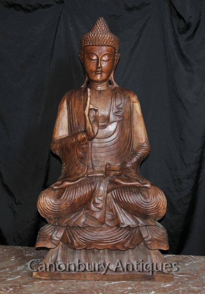 Big Carved Tibetan Buddha Sculpture Buddhist Art Buddhism Lotus