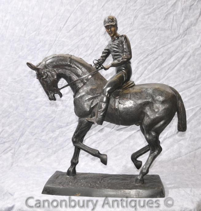 Bronze Horse Jockey by Bonheur Derby French Horses Casting