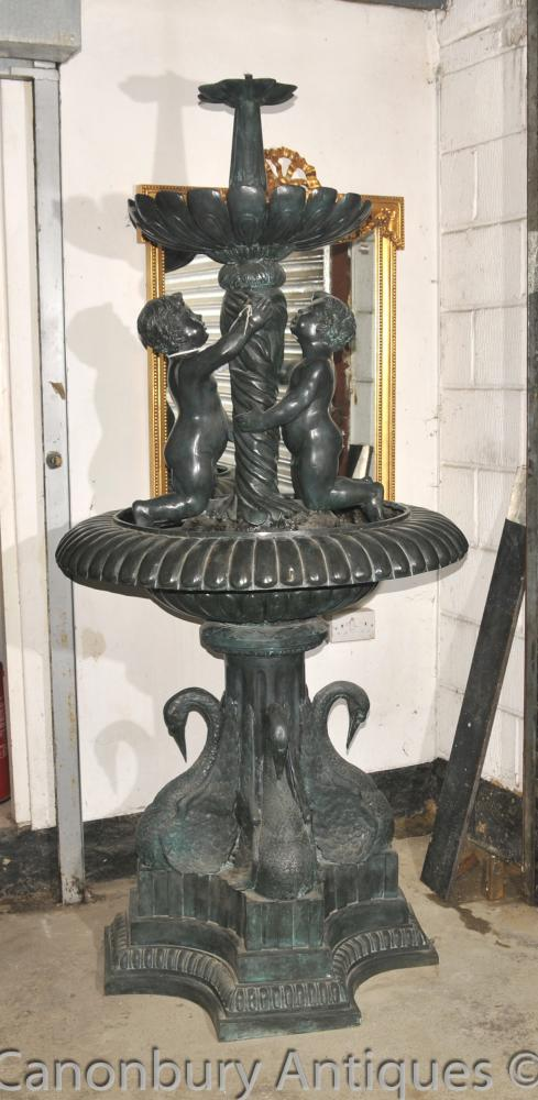 Classical French Verdis Gris Bronze Cherub Fountain Swan Tiered Base