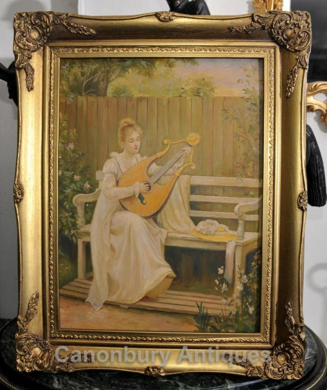 Edwardian Oil Painting Portrait Maiden and Lyre Musical