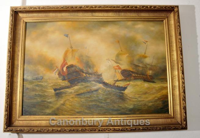 English Oil Painting Battle Trafalgar Maritime Art Navy Ship