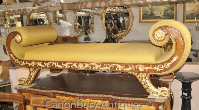 French Louis XVI Gilt Stool Day Bed Chaise Longue