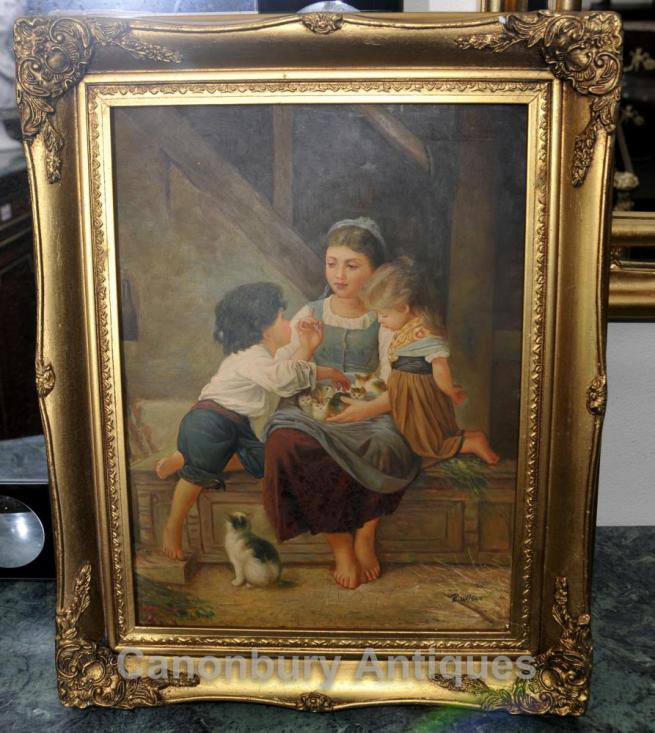 French Rustic Oil Painting Children Kitten Portrait Signed Gilt Frame