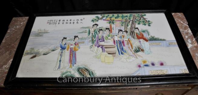 Japanese Porcelain Kutani Screen Plaque Hand Painted Ceramic Plate