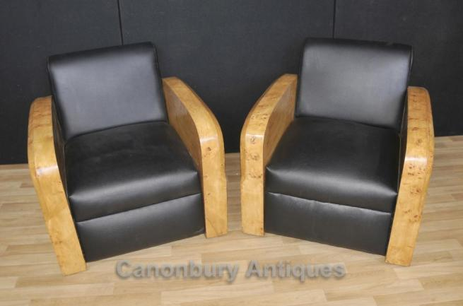 Pair Art Deco Arm Chairs Club Chair Sofa 1920s Lounge Furniture