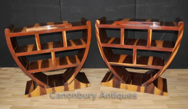 Pair Art Deco Bookcases Shelf Units Retro Furniture