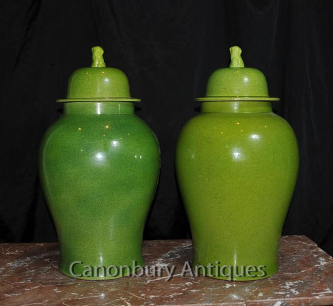 Pair Chinese Porcelain Ginger Jars Lidded Urns Vases