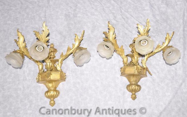 Pair Empire Rococo Sconces Wall Lights Ormolu Candelabras