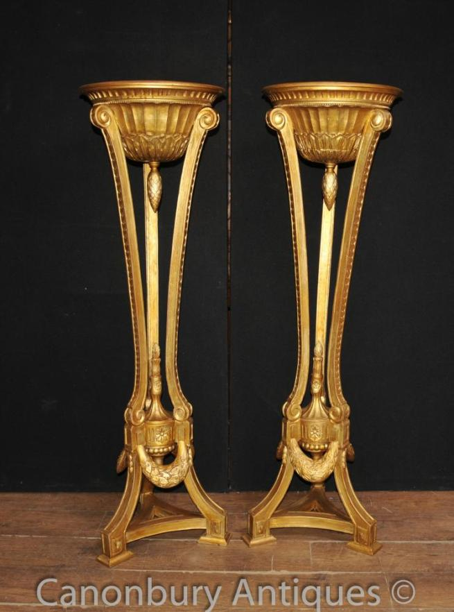 Pair French Empire Gilt Torcheres Pedestal Planter Stands Carved