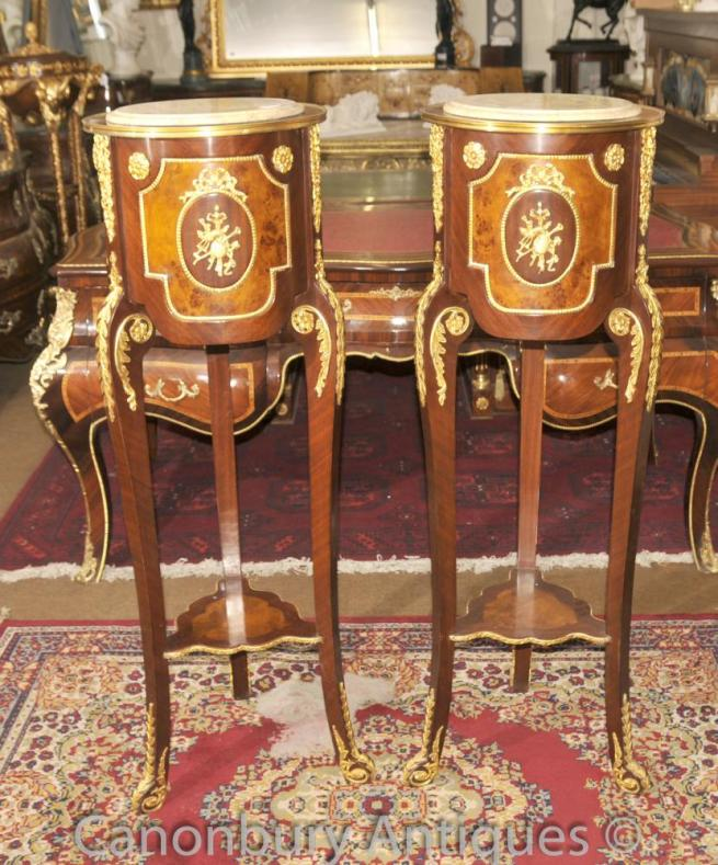 Pair French Empire Pedestal Stands Side Cocktail Stands