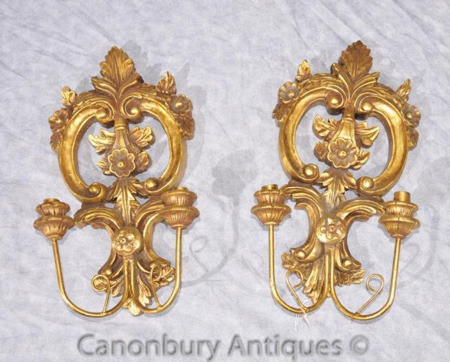 Pair French Rococo Carved Wood Sconces Wall Lights
