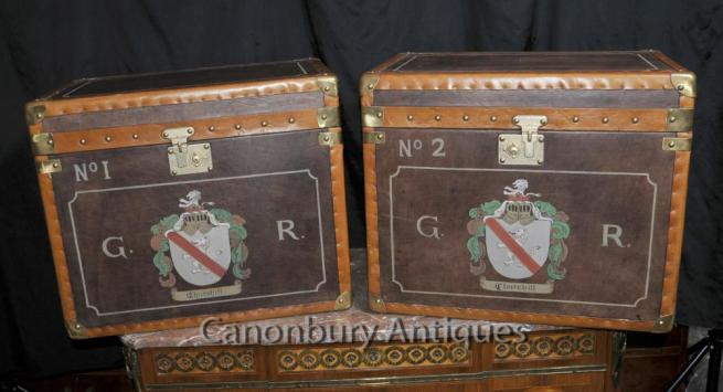 Pair Leather Steamer Trunk Luggage Boxes Coffee Side Tables