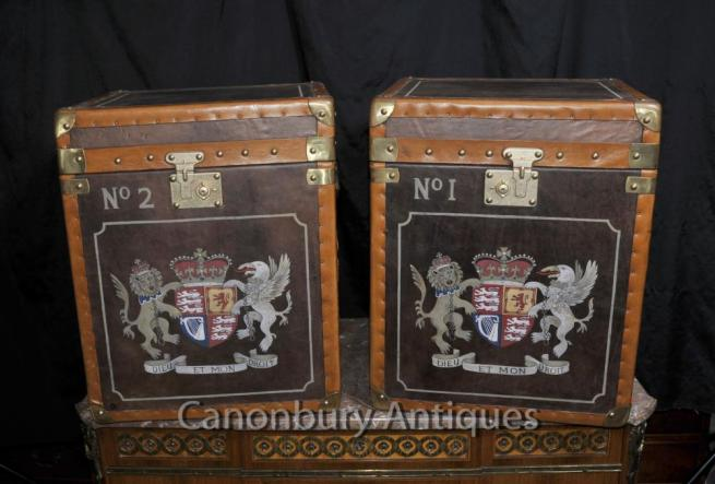 Pair Leather Steamer Trunk Side Tables Boxes Luggage Case