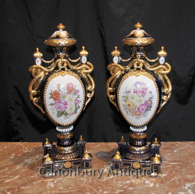 Pair Sevres Porcelain Floral Amphora Urns Vases Serpent Handles