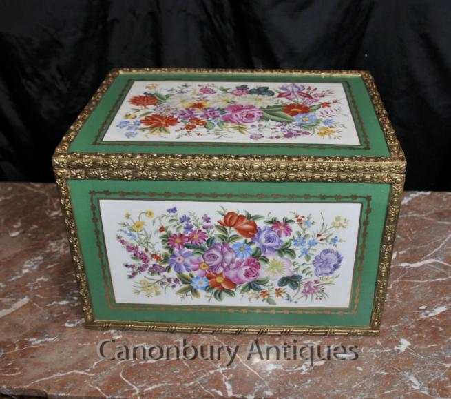Sevres Porcelain Jewellery Box Floral Trinket Case Pottery