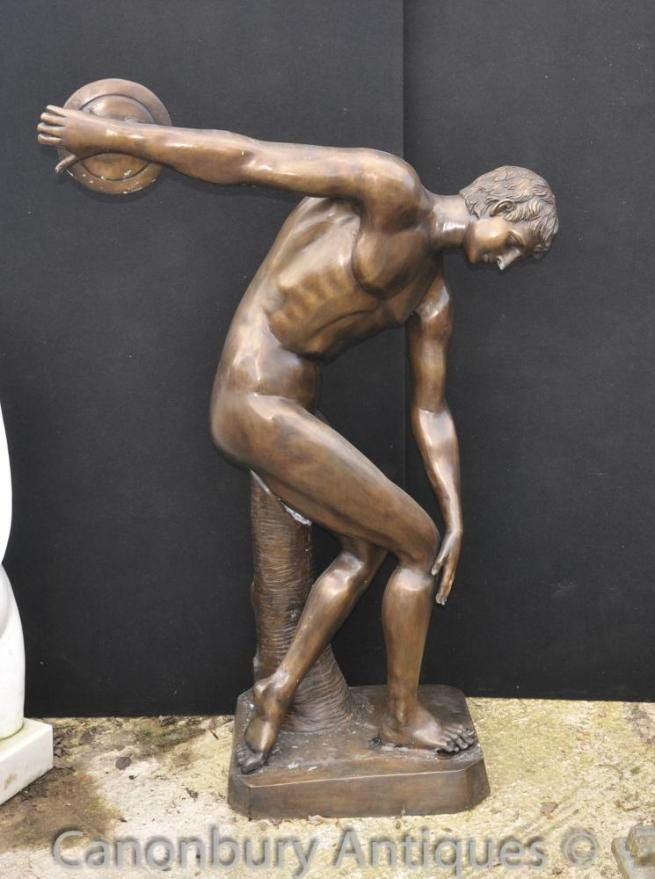 XL Bronze Classic Discus Thrower Statue Figure Nude Athlete Statue