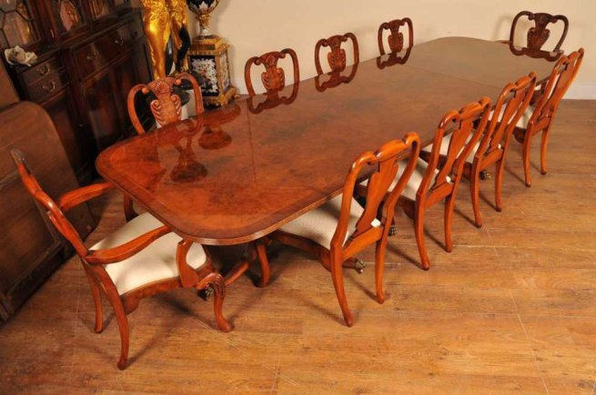 16ft Walnut Regency Pedestal Dining Table Seats 18