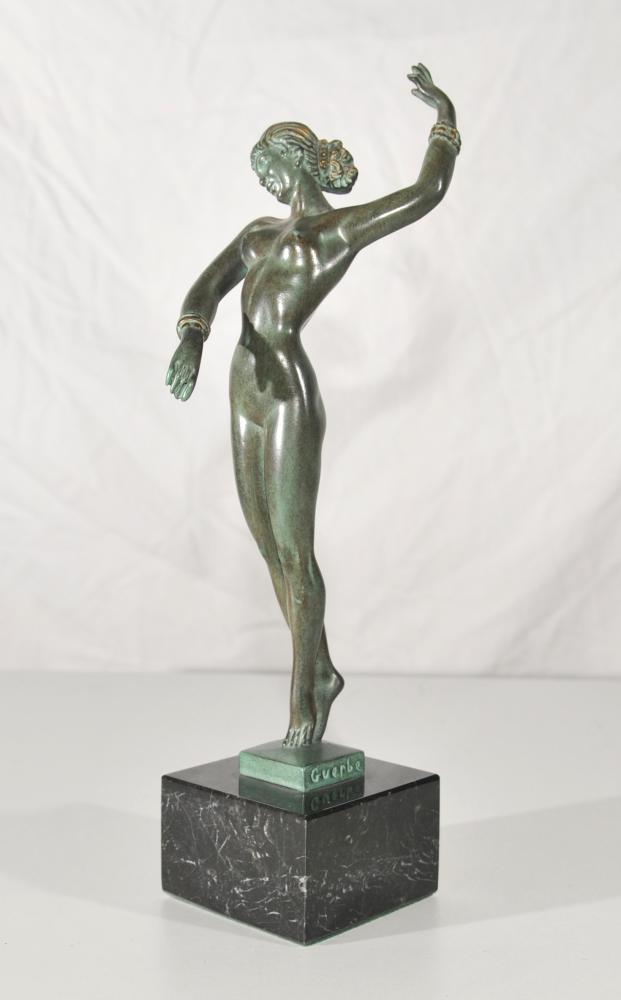 Antique Art Deco Bronze Dancer Figurine Signed Guerbe Original