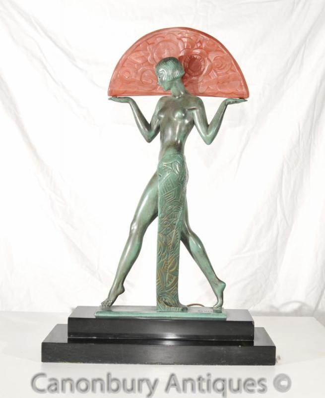 Antique Art Deco Figurine Lamp Signed Guerbe Le Verrier Original 1920s