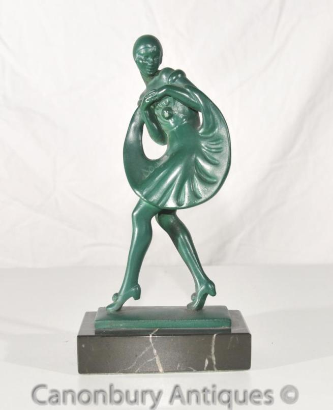 Antique French Art Deco Bronze Dancer Signed Guerbe Le Verrier Foundry