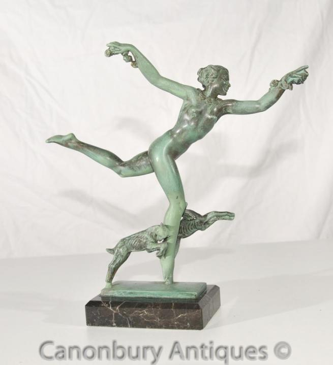 Art Deco Bronze Antique Figurine Signed Fayral Foundry Le Verrier
