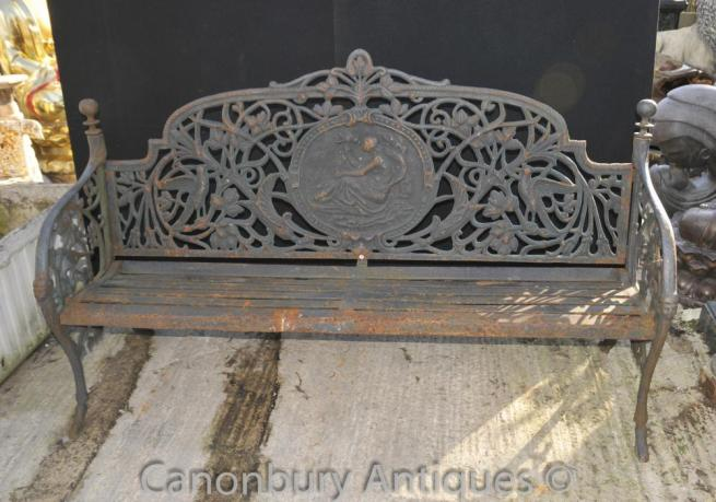English Victorian Cast Iron Garden Bench Architectural Seat
