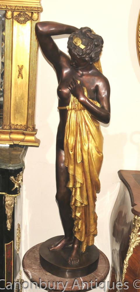 Large French Bronze Semi Nude Maiden Figurine Statue