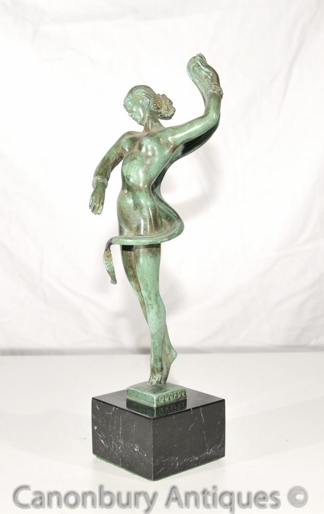Original Art Deco Bronze Dancer Signed Guerbe Le Verrier Foundry