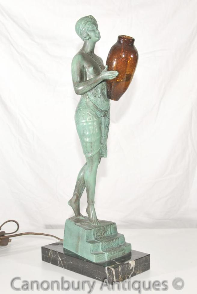 Original Art Deco Bronze Lamp Signed Faguays French Le Verrier Antique