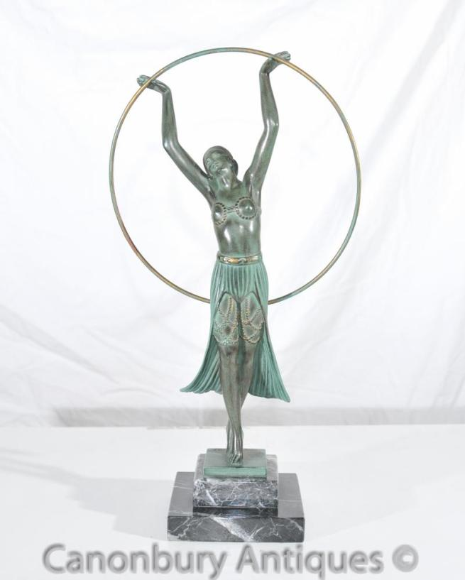 Original Charles Sykes Art Deco Hoop Girl Antique Statue Signed