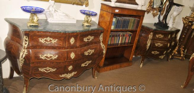 Pair Big French Empire Bombe Chest Drawers Commodes
