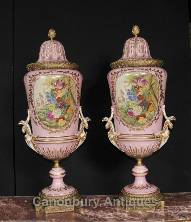Pair Big French Sevres Porcelain Floral Urns Vases Pottery