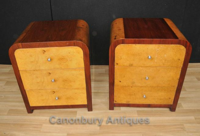 Pair Blonde Walnut Deco Nightstands Bedside Tables Chests Commodes