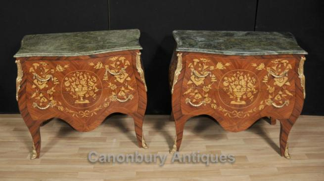 Pair Empire Bombe Commodes Chests Drawers Marquetry Inlay French