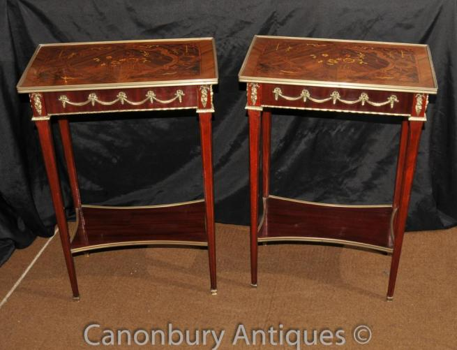Pair French Empire Cocktail Side Tables Marquetry Inlay