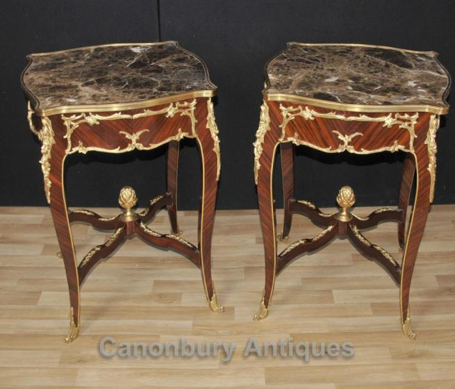 Pair French Louis XVI Side Occasional Tables Marble Tops