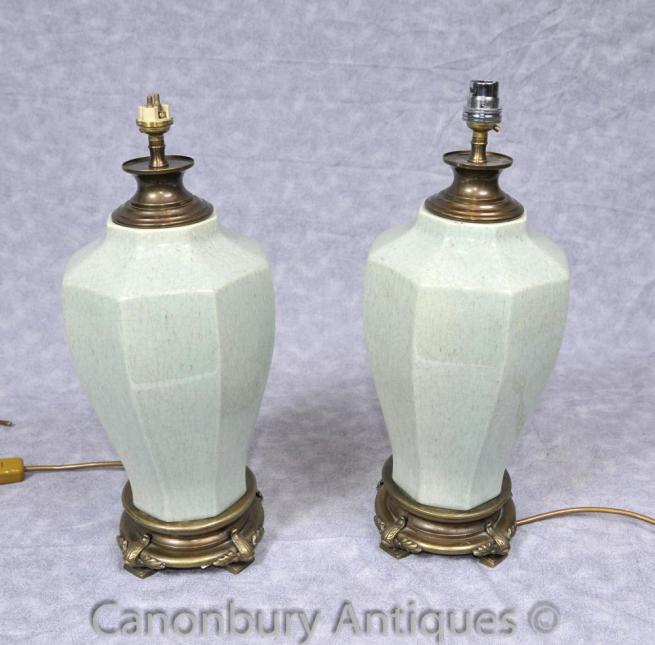 Pair French Porcelain Urn Table Lamps Lights Octagonal Ceramic